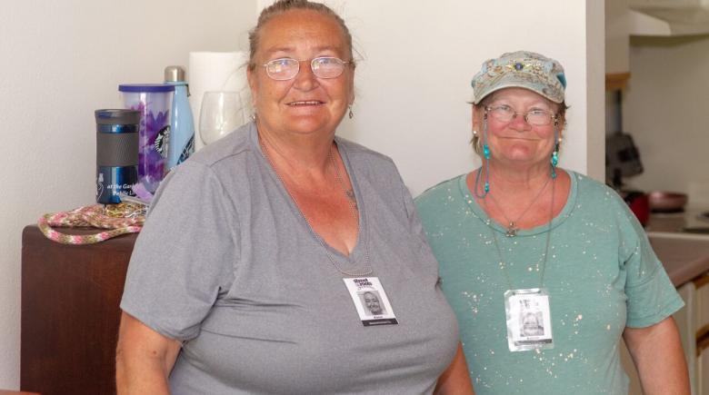 Karen Flemming and Belinda Estermyer Beason in their new apartment.