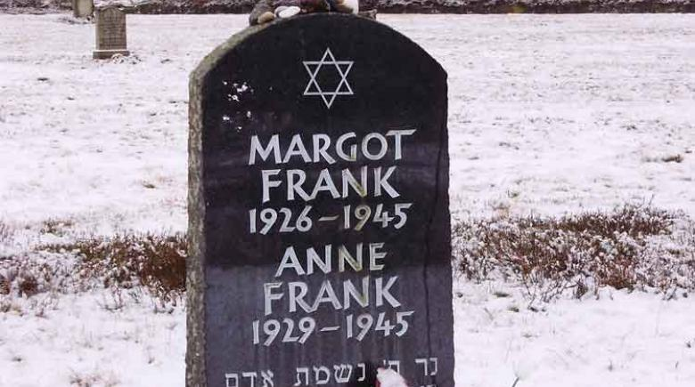 A memorial to Anne Frank and her sister, Margot, at their place of death, the former Nazi concentration camp Bergen-Belsen in Germany.