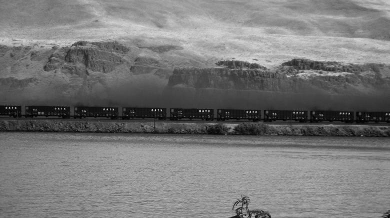 Coal dust hovers