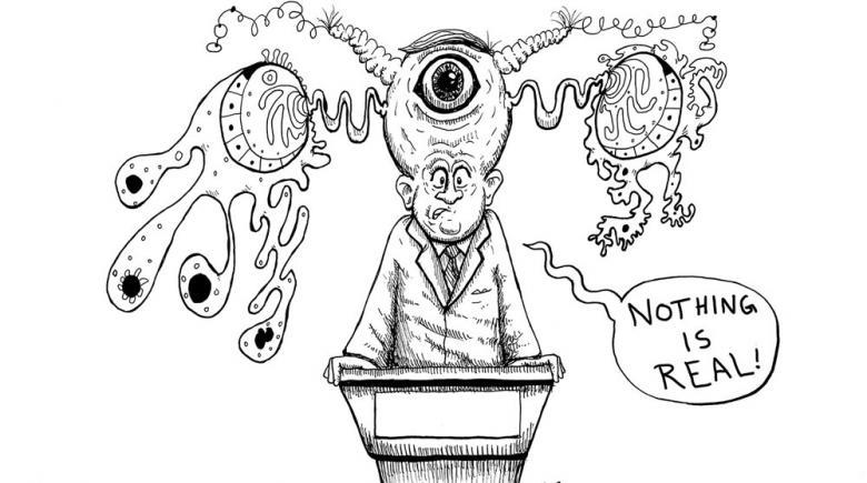 Editorial cartoon: The alternative crisis press conference