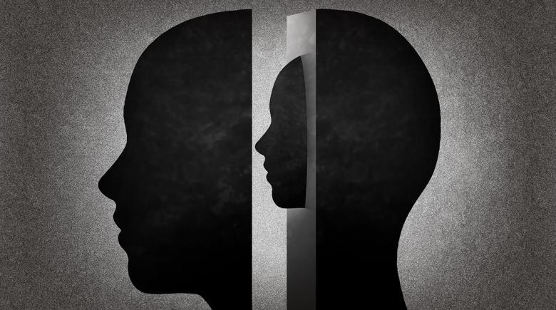 Mental illness illustration of two heads