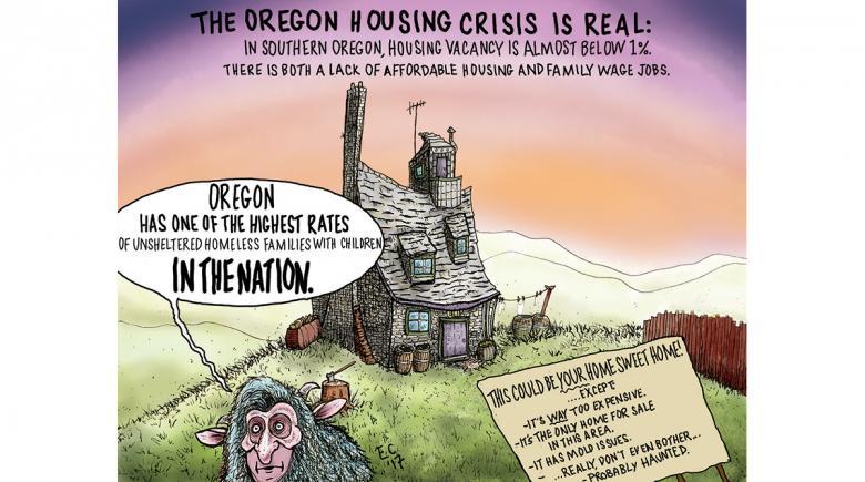 Sheeptoast editorial cartoon: Housing Crisis