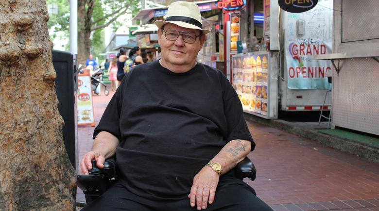 Billy Baggett sits in his wheelchair in Portland