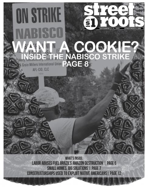 """The cover photo of Street Roots' September 8th, 2021 issue. With the headline """"Want a Cookie?"""""""