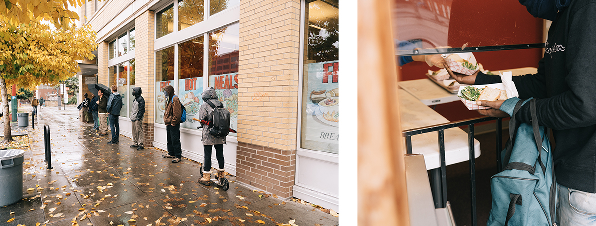 Photo 1: People stand in line outside Blanchet House. Photo 2: Someone receives food from the walk-up window at Blanchet House.