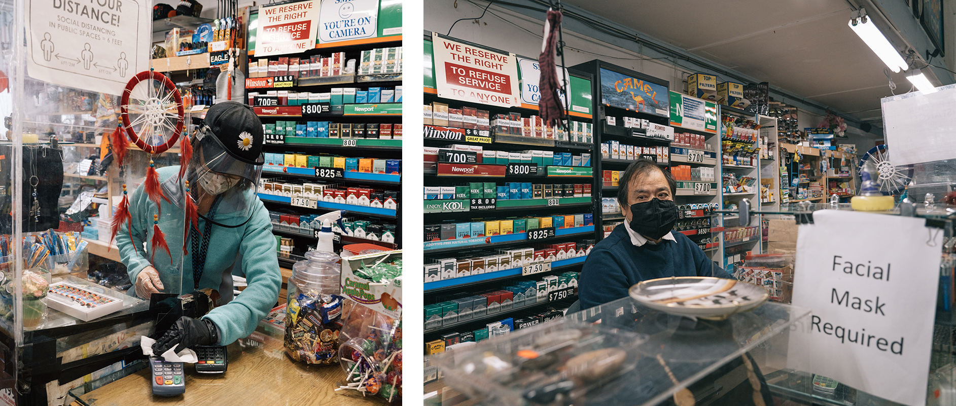 Two photos: Susie and Timothy Tu working at a convenience store in Old Town/Chinatown