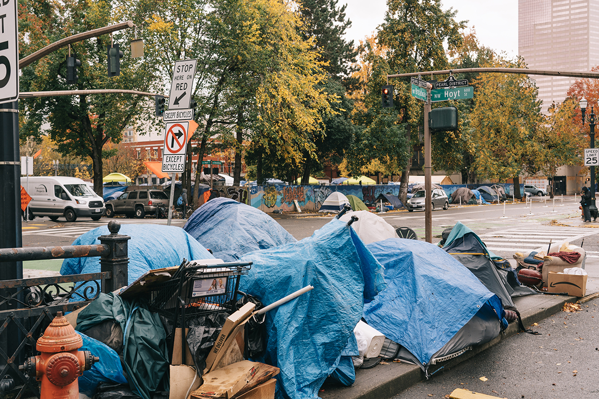 Tents on Broadway and Hoyt in Portland