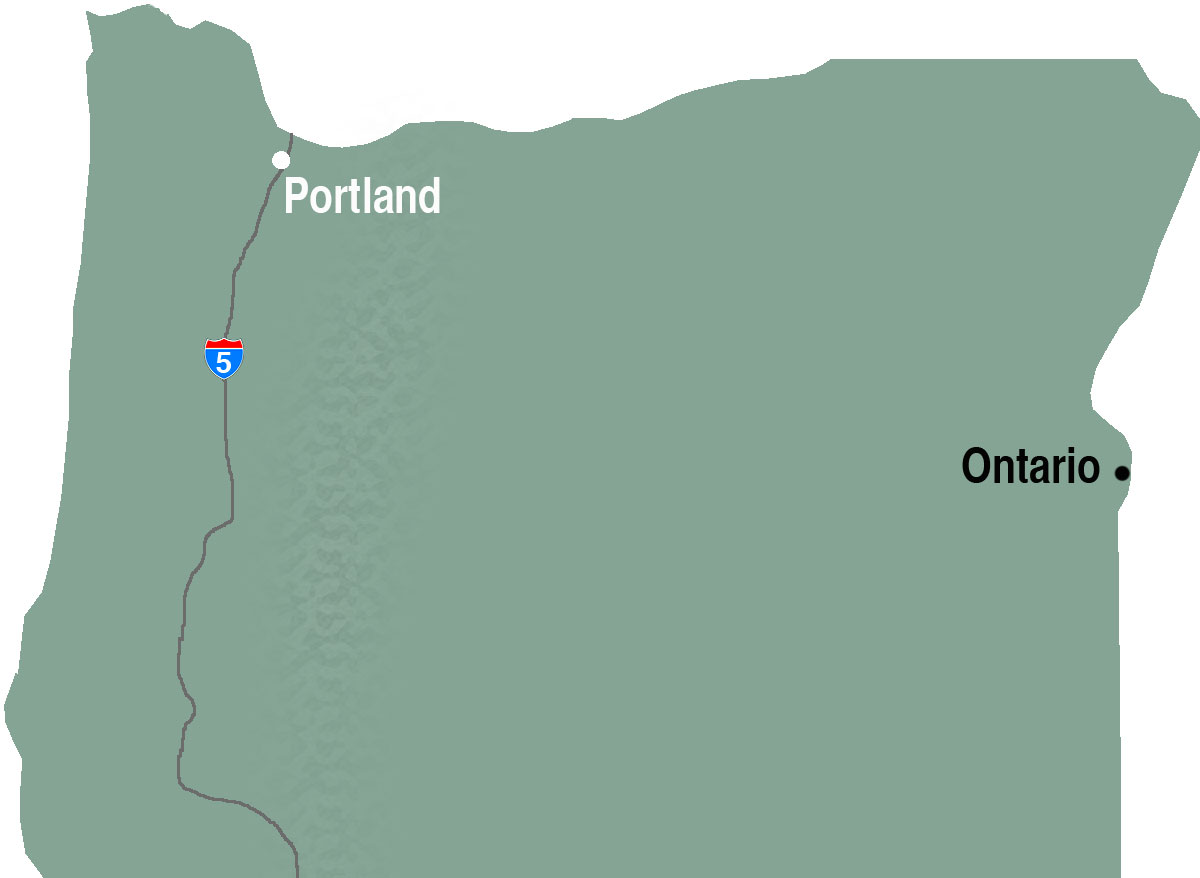 Oregon map showing Ontario